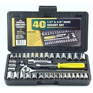 G-MTIN AIWA Universal Adjustable 40 Psc Tool Kit Multi Purpose Combination Socket Wrench Set Socket Set (Pack of 40)