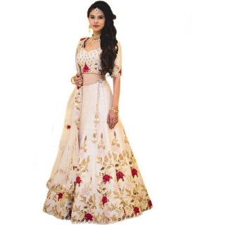 Florence Beige Dupion Silk Embroidered Lehenga Choli