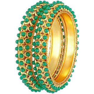 MFJ Fashion Jewellery Traditional Green Pearl Gold Plated Set Of 2 Bangle For Women