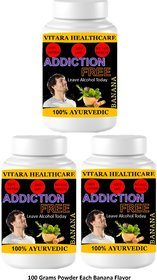 Vitara Healthcare Addiction Free Banana Flavor Free From Addiction 100 gm Powder (Pack Of 3)