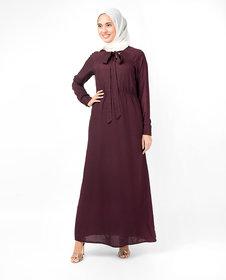 Silk Route London Maroon Elastic Waist Abaya For Women Height of 5