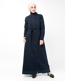Silk Route London Full Front Open Navy Waist Tie Up Abaya For Women Height of 50 inches, Abaya Length is 52 inches