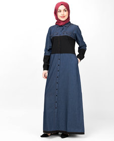 Silk Route London Blue  Black Full Front Open Denim Abaya For Women Height of 52 inches, Abaya Length is 54 inches