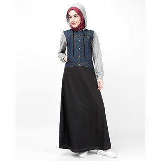 Silk Route London Hooded Jersey  Denim Jilbab For Women Height of 52 inches, Jilbab Length is 54 inches