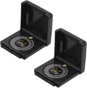 2 Piece Military Hiking Camping Lens Magnetic Compass - PS35B