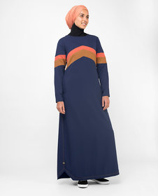 Silk Route London Active Orange Highlight Retro Jilbab For Women Height of 52 inches, Jilbab Length is 54 inches