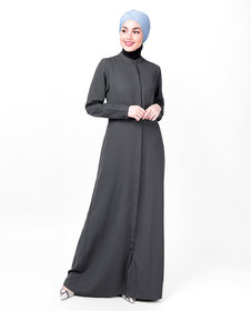 Silk Route London Steel Grey Full Front Open Abaya For Women Height of 5