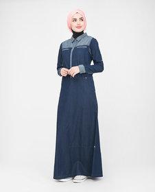 Silk Route London Utility Contrast Denim Jilbab For Women Height of 5
