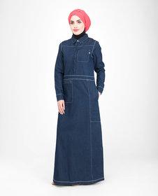 Silk Route London Fine Denim Detail Jilbab For Women Height of 5