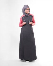 Silk Route London Pink Contrast Hooded Jilbab For Women Height of 5