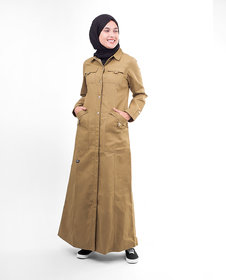 Silk Route London Brown Full Front Open Winter Jilbab For Women Height of 5