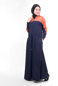 Silk Route London Relaxed Toggle-Waist Colour Blocking Jilbab For Women Height of 5