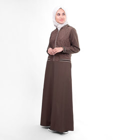 Silk Route London Brown Flared Paisley Print Jilbab For Women Height of 5