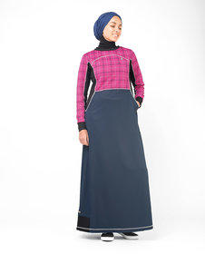 Silk Route London Rose Checked Print Jilbab For Women Height of 5
