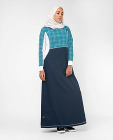 Silk Route London Blue Checked Print Jilbab For Women Height of 5