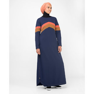 Silk Route London Active Orange Highlight Retro Jilbab For Women Height of 54 inches, Jilbab Length is 56 inches