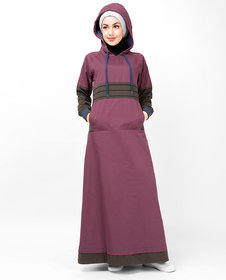 Silk Route London Plum Casual Hooded Jilbab For Women Height of 5