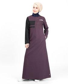 Silk Route London Plum & Black Button Neck Jilbab For Women Height of 5