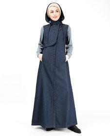 Silk Route London Detachable Hoodie Deep Denim Abaya For Women Height of 5