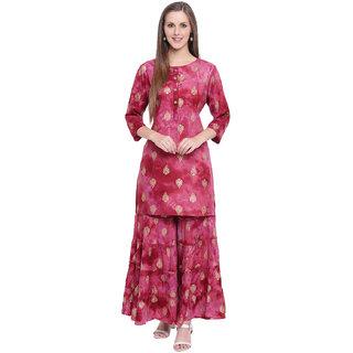 LOPA Rayon Kurti With Sharara And Gharara - Stitched Suit