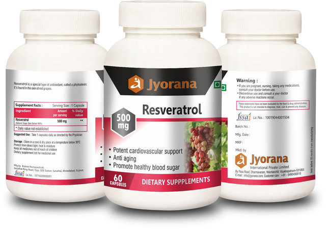 Buy Jyorana Supplements Resveratrol 500mg 60 Capsules Online