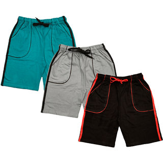 IndiWeaves Boys Cotton Solid Shorts/Bermuda (Pack of 3)