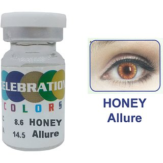 Celebration Conventional Colors Yearly Disposable 2 Lens Per Box With Affable Lens Case And Lens Spoon(Honey Allure-1.00)
