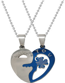 Men Style  Couple Broken Heart Flower Key I Love You Locket With 2 Chain His And Her Stainless Steel Pendant Set