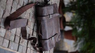 Moustache Messenger Laptop Bag Vegan Leather Handmade Dark Brown Unisex Bag Cross Over Shoulder with Laptop Compartment