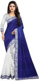 Bolly lounge women's flower velvet and net blue saree