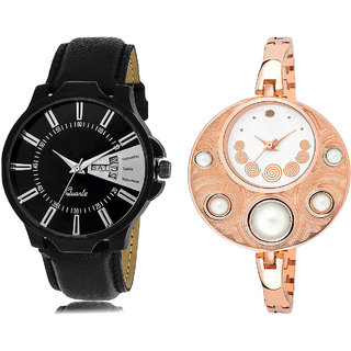 ADK JG-04-LK-246 Black & White Dial DAY & DATE Functioning Watches for  Couple