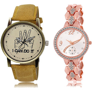 ADK LK-30-215 Orange & Rose Gold Dial Latest Watches for  Couple