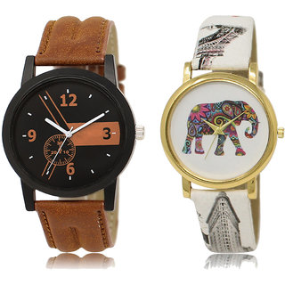 ADK LK-01-243 Brown & Multicolor Dial Look Watches for  Couple