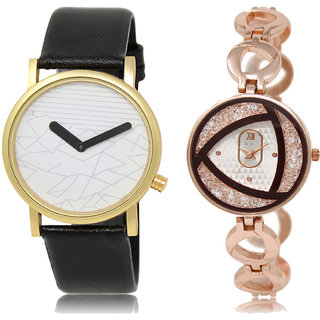 ADK LK-37-238 White & Rose Gold Dial Look Watches for  Couple