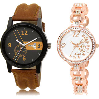 ADK DD-01-LK-210 Brown & White Dial Latest Watches for  Couple