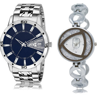 ADK LK-102-240 Blue & Silver Dial DAY & DATE Functioning Watches for  Couple