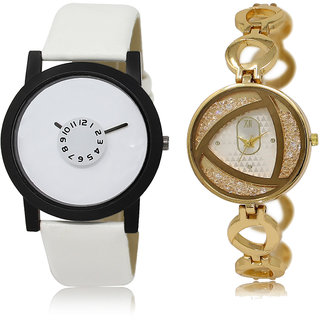 ADK LK-26-239 White & Gold Dial Designer Watches for  Couple