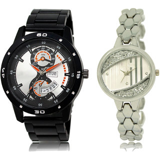 ADK LK-107-223 Black & Silver Dial DAY & DATE Functioning Watches for  Couple
