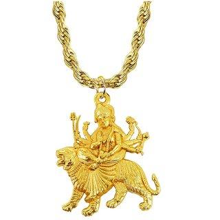 Men Style  Religious Jewelry Loard Jai Durga Maa Sheravali Locket With Puchmukhi Rudraksha Mala Beads Brass, Wood Pendan