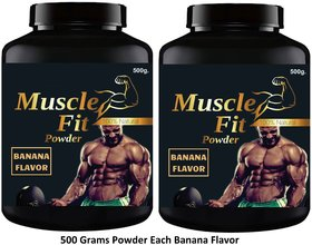 Vitara Healthcare Muscle Fit Banana Flavor Muscle Gainer Weight Gainer 500 gm Powder (Pack Of 2)