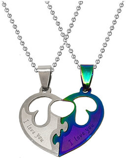 Men Style  Couple Broken Heart I Love You Locket With 2 Chain His And Her Stainless Steel Pendant Set