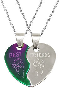 Men Style  Couple Broken Heart Best Friend Locket With 2 Chain His And Her Stainless Steel Pendant Set