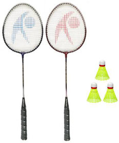Hipkoo Power 04 Badminton Rackets, 3 Shuttles With Carry Bag