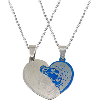 Men Style  Valentine Couple Broken Heart Carton Boys And Girl Love Locket With 2 Chain Stainless Steel Pendant Set