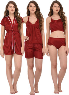 You Forever Women's Nightwear Set (Maroon, Pack of 3)