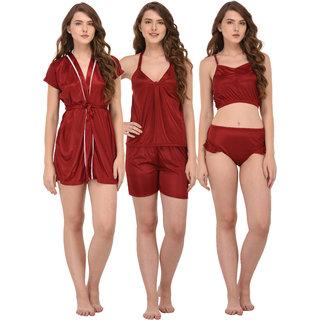 You Forever Women's Nightwear Set (Maroon, Pack of 3)