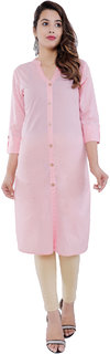 Purvahi Baby Pink Cotton Front Slit Kurti (KC2065 baby