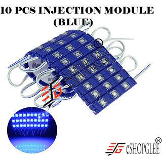 Eshopglee 3 LED DC 12V Waterproof Injection Led Modules Light 5630/5730 SMD - 10 Module (Blue) + Free 12v Dc Adaptor