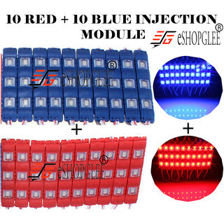 Eshopglee 3 LED DC 12V Waterproof Injection Led Modules Light 5630/5730 SMD - 10+10 Module (Blue+RED)  + Free 12v Dc Adaptor