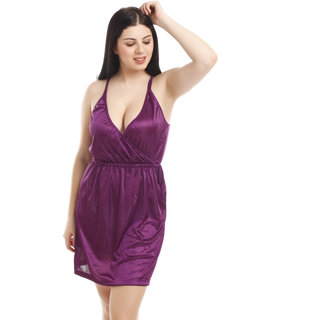 You Forever Plain Purple Satin Nighty